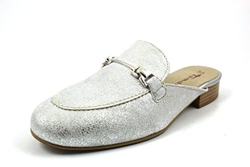 Tamaris Pantolette 1-27316-20 Damen Leder Sabot Clogs, Schuhgröße:36;Farbe:Silber