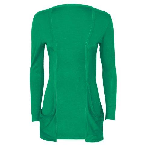 Runway Splash - Cardigan Pour Femme Manches Longues 2 Poches Vert