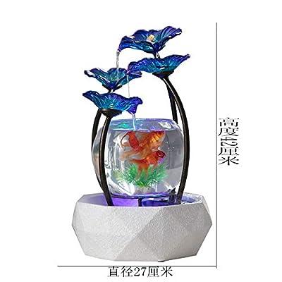 Likangping Creative Home Wasserbrunnen Dekoration für Wohnzimmer Büro Innendekoration Glas Aquarium mit Luftbefeuchter Feng Shui Lucky 1,2 l
