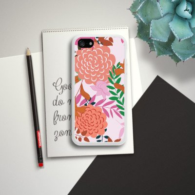 Apple iPhone 6 Housse Étui Silicone Coque Protection Fleurs Fleurs Motif Housse en silicone blanc