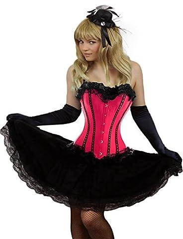 Yummy Bee - Burlesque Korsett mit Tutu Rock Kostüm Damen Größe 34 - 52 ( 34-36, Rosa) (Bilder Von Moulin Rouge Kostüme)