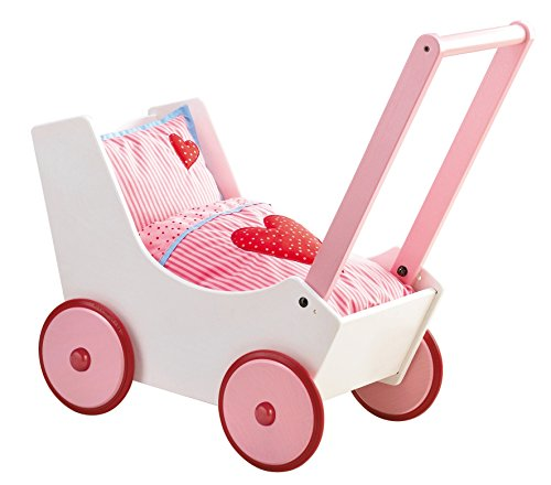 Haba 950 - Puppenwagen Herzen, niedlicher Puppenwagen aus Holz mit mit zweifach verstellbarem Bügel, Matratze, Kissen und Decke, Spielzeug ab 12 Monaten