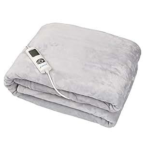 Couverture Chauffante électrique lavable Yatek de toucher Super confortable et gris, avec 180 x 130 cm et 160 W de puissance, douce au toucher et Silk Sensation