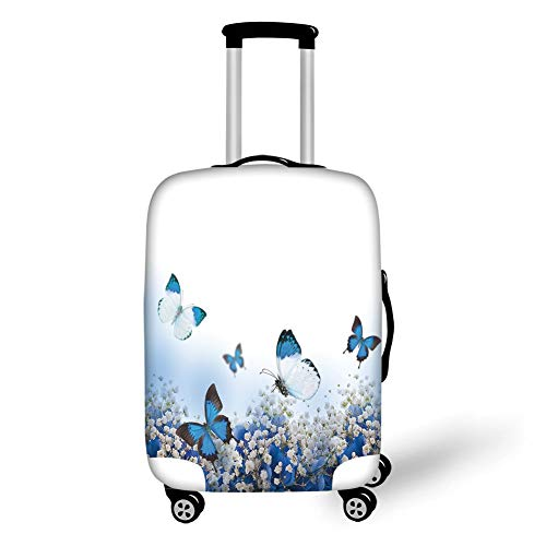 Travel Luggage Cover Suitcase Protector,Light Blue,Blue Hydrangeas and Butterflies Rural Scenery Freshness Spring Yard Garden Decorative,Blue Black White,for Travel,L -