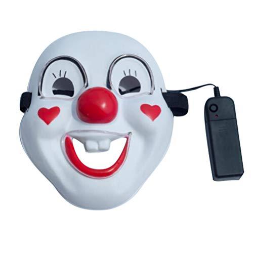 Kostüm Dress Keinen Up - Amosfun Halloween leuchtende Clown Maske Halloween Cosplay Party Karneval Maskerade Maske lustige Party Dress Up Kostüm Zubehör (Keine Batterie)
