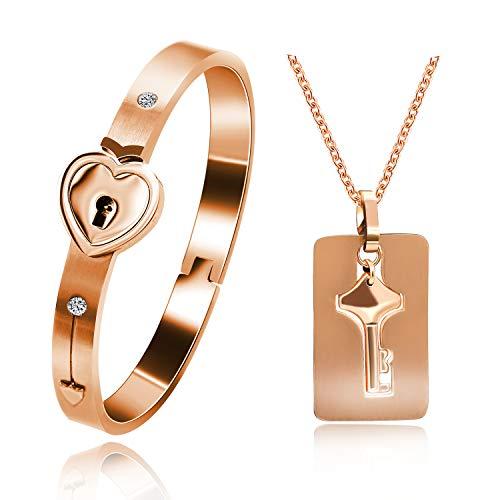 Uloveido Roségold plattiert passendes Puzzle aus Titan Paar Armband und Anhänger mit Schlüsselanhänger für Männer und Frauen, passendes Armband Paar Schmuckset für Freundinnen SN300 (Roségold farbe)