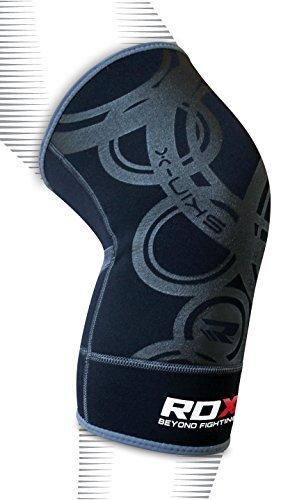 RDX Boxe Genouillère MMA Crossfit Sport Fitness Soutien Genou Ligamentaire Protection - Noir/Gris - S/M