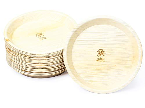 quau 100 Einwegteller aus Palmblatt, Rund, Ø25,5cm, kompostierbar, biologisch abbaubar, Palmblattteller, Palmteller