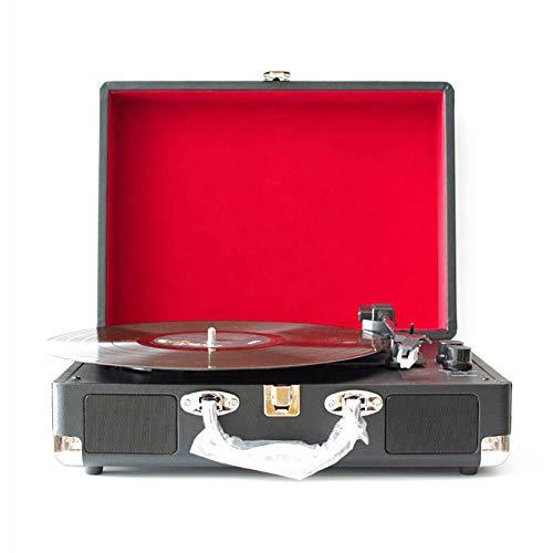 FFQNG Tourne-Disque Vinyle, Phonographe Rétro, Équipé d'une Boîte en Bois en Cuir PU Multi-Fonctions Bluetooth, Tourne-Disque Rotatif À Trois Vitesses,Black