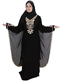 Egypt Bazar Abaya Festkleid, im Islamischen Stil, inkl. Passender Schleier/Kopftuch. schwarz-Gold