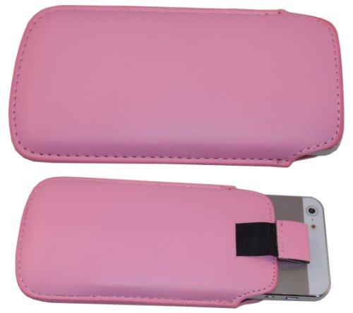 smartec24® Zipout Handytasche für iPhone 5 / 5S / 5C inkl. 1x Frontschutzfolie. Stabile Tasche mit Zipfunktion für eine sichere Handhabung. (hellblau) rosa