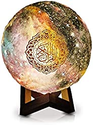 X-CHAS Starry Moon Lamp Quran Speaker 3D Printing Lights 7-Color LED Night Lights, Bluetooth Speaker with Remo