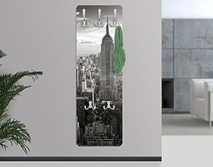Portemanteau mural design en bois MDF Motif horizon de Manhattan New York