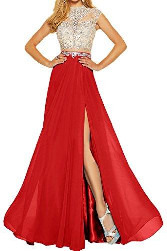 ivyd ressing Donna Elegante due Adattatore Chiffon & tulle pietre a linea di abito del partito Prom abito Fest vestito abito da sera Rot