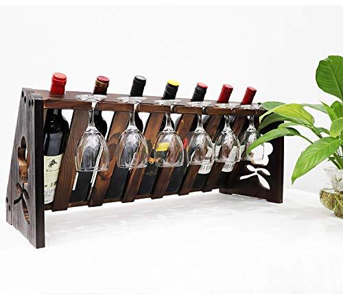 Trocknen Rack-einheit (TUORUI Tischplatte Weinregal, Holz Wein Flasche und Glas Rack, Wein Aufbewahrung Einfache Montage 7Flasche 6Langer Stiel Glas Halter (Vintage Walnuss))