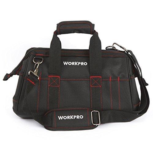 WORKPRO 42CM Werkzeugtasche mit weiter Reißverschluss-Öffnung verstellbarer Schultergurt