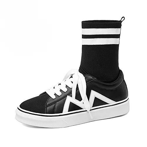 Damenschuhe HWF Frauen Socken Schuhe High-Top Herbst Casual Flache Lace up Wanderschuhe bequem (Farbe : SCHWARZ, größe : 35)