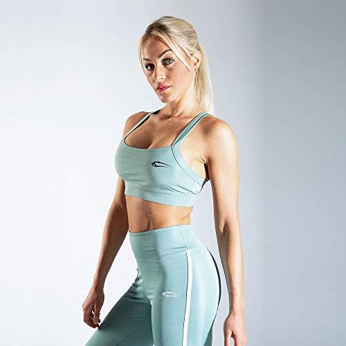 SMILODOX Sport Bra Cross | Fitness-BH ohne Bügel | Starker Halt im Training | Bustier für Pilates Yoga Gym Fitness | Soft Büstenhalter, Farbe:Grün, Größe:L - 3