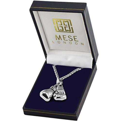 MESE London Boxhandschuh-Halskette Edelstahl-Kette Männer Silber Anhänger  Elegante Geschenkbox Abbildung 2