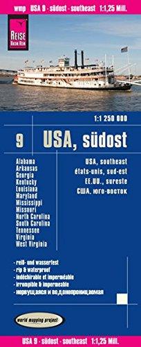 USA 9: Sureste,  Alabama,  Arkansas, Georgia, mapa impermeable de carreteras. Escala 1:1.250.000 impermeable. Reise Know-How. por VV.AA.