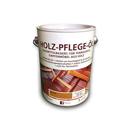 Preisvergleich Produktbild Holz Pflegeöl - 2,5 Liter - Holzöl - Lärche - für innen und außen - geeignet für Möbel, Treppen, Parkett, Holz-Boden, Terrassen - Holzschutz - Schutzschicht - LAGERWARE