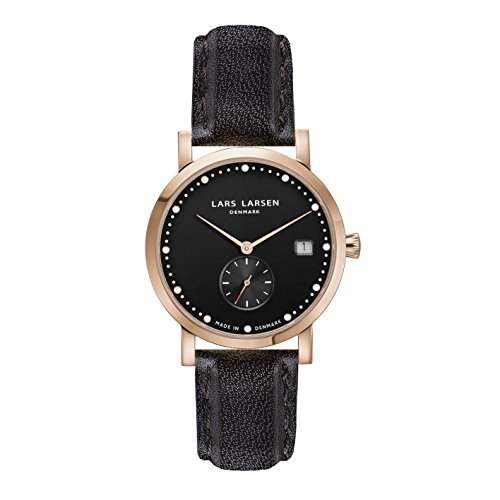 Lars Larsen LW37 Women's Quartz Watch with Black Dial Analogue Display and Black Stainless Steel Strap 137RBBL