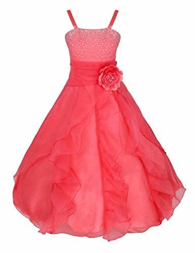 iEFiEL Mädchen Kinder Kleider Festlich Lang Brautjungfern Kleid Prinzessin Hochzeit Party Kleid Gr. 92-164 Wassermelonenrot ()