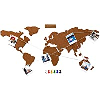 Flamingueo Cork Map - Corkboard Map with Pins for Polaroid Photos, Wooden World Map, Cork Board for Photos, World Map Pin Board, Wall Decoration, Room Decorations, Travel Gift, 45,5 x 100 cm