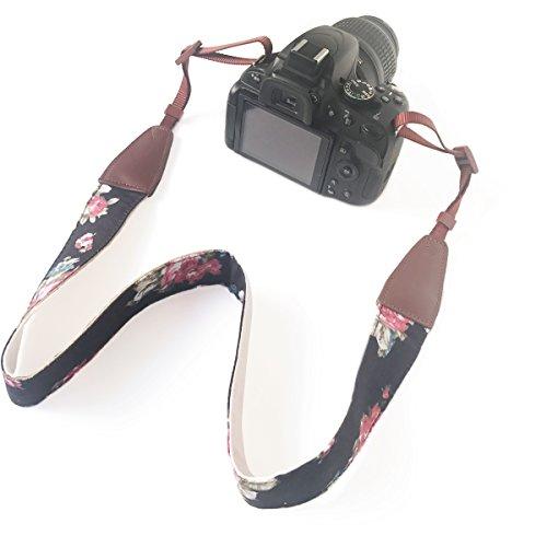 Kamera Slr-vintage (Kamera gurt Nacken Schulter Umhängeband Schultergurt Gürtel Tragegurt für Alle DSLR/SLR/Nikon/Canon/Sony/Lumix/Fujifilm/Ricoh/Samsung/Pentax ETC/Olympus Kamera (Druckblume Schwarz))