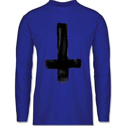 Symbole - Umgedrehtes Kreuz Vintage - Longsleeve / langärmeliges T-Shirt für Herren Royalblau