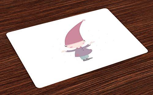 tzmatten, Kleine Karikatur GNOME Character Illustration mit Einem großen rosa Hut, der unter Regen Steht, Tiscjdeco aus Farbfesten Stoff für das Esszimmer und Küch, Mehrfarbig ()