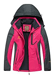 Diamond Candy Damen Sport-Regenjacke mit Kapuze Softshell Wasserdicht Gr. S, hot pink
