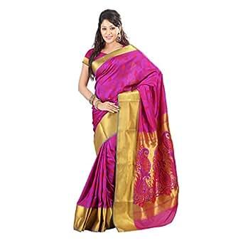 Varkala Paithani Big Border Peacock Pallu Saree, Dual Colour Violet and Red
