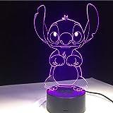 Stitch Cartoon 3D Lámpara Dormitorio Mesa De Noche Luz Acrílico Panel Cable Usb 7 Colores Cambiar Táctil Base De La Lámpara Regalo De Los Niños