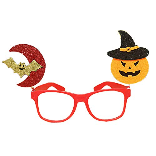 e disfraces de Halloween Gafas de rendimiento con Bat Pumpkin y Moon Shape Glasses (rojo) ()