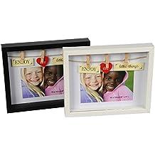 Marco de fotos 'Enjoy the little things' en negro de aproximadamente 22cm x 18cm Marco de fotos para fotos de 15 x 10cm Marco Decorativo con vidrio