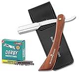 Schwertkrone Rasiermesser Holzgriff + 100 halbe Derby Wechselklingen + Transporttasche | Rasiermesser Set Herren für Einsteiger & Fortgeschrittene