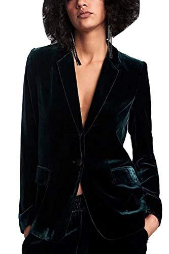 Fanvans Die Damen Der Klassische Anzug Lange Ärmel Samt Slim Fit Blazer Jacken grüne XL
