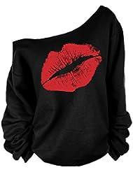 Eleery T-shirt Tops Femme Manches Longues Imprimé Lèvre Épaules Nues Off-épaule Off Shoulder Batwing Encolure Plaine Sexy Lâche Casual