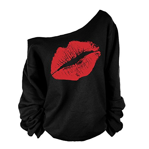 Eleery Damen T Shirt shoulder off Casual sexy Lippe Freizeit langarm Pollover (EU40-42, Rot) (T-shirt Beauty-dunklen)