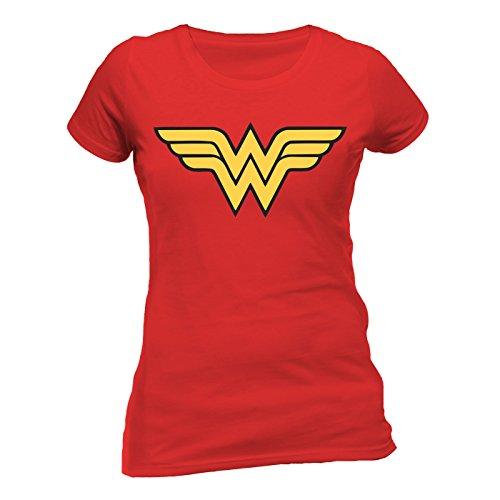Kostüm Damen Offizielle - Wonder Women Logo Fitted Damen T-Shirt Offizielles Lizenzprodukt|S