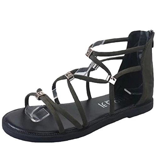 Oasap Women's Peep Toe Cross Lace up Flat Gladiator Sandals green