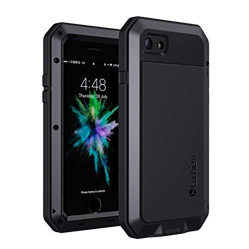 Lanhiem Coque iPhone 7, Coque iPhone 8, [Antichoc] [Solide et Rigide] Antipoussière Full Body avec du Verre trempé [Garantie à Vie] Imperméable IP44 Etui [Compatible Charge sans Fil] - Noir