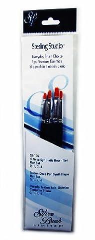 Silver Brush SS-109 Sterling Studio Golden Taklon Short Handle Flat Brush Set, 4 Per Pack by Silver Brush Limited