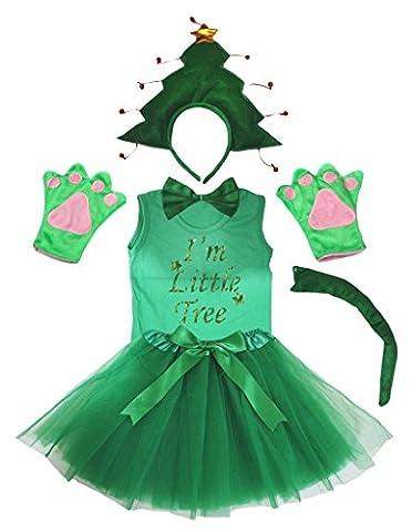 Petitebelle I m Little Tree Green Headband Gloves Tutu Shirt 6pc Girl Costume (3-4 Years) (Little Trees Kostüm)