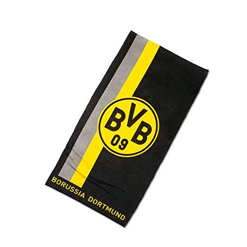 Borussia Dortmund BVB 09 Handtuch mit Logo/Streifenmuster, Baumwolle, Schwarz/Gelb, 100 x 50 x 1 cm