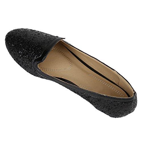 Klassische Damen Ballerinas | Glitzer Ballerina Schuhe Lack | Party Schuhe Zeitschuhe Schleifen | Basic Slipper Flats | Freizeitschuhe Hochzeit Abiball Schwarz Schwarz Glitzer