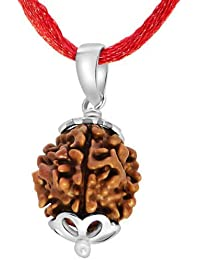 Amorfos 2 Mukhi/Faced Rudraksha Pendant With Silver Coated Capping And Lab Certificate, Nepal Originated Rudraksh...