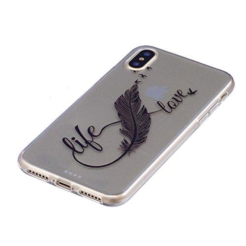 "Coque pour Apple iPhone X , IJIA Transparent Cheval TPU Doux Silicone Bumper Case Cover Shell Housse Etui pour Apple iPhone X (5.8"") FD30"
