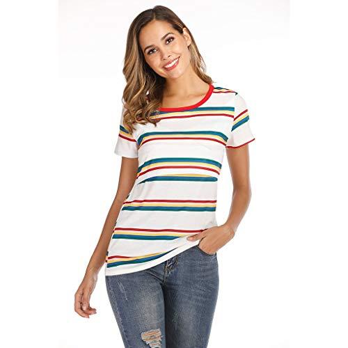 Mymyguoe Frauen Umstandsmode Layered Shirt Stillshirt Kurzarm Mutterschaft Womens Nursing Stripe Kurze Ärmel Rundhals Stillbluse Damen Mutterschaft Oberteile Stitching Stillendes T-Shirt -